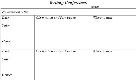 writing conference template assessment margd teaching posters