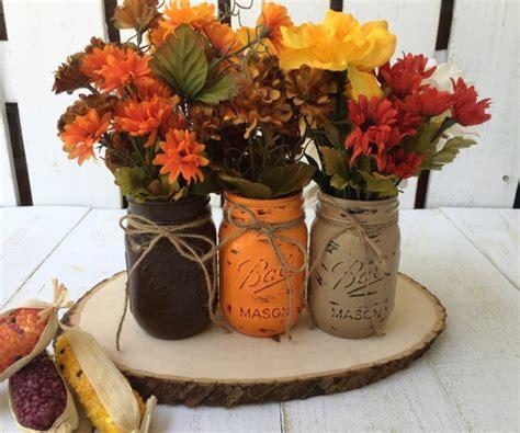 pint mason jars fall decor thanksgiving painted mason jars