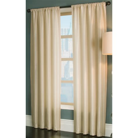 lowes window curtains shop allen roth florence 84 in l solid cream rod pocket