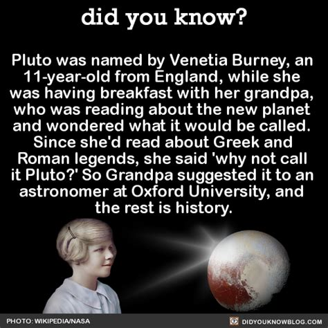 You Named What by Did You Pluto Was Named By Venetia Burney An 11
