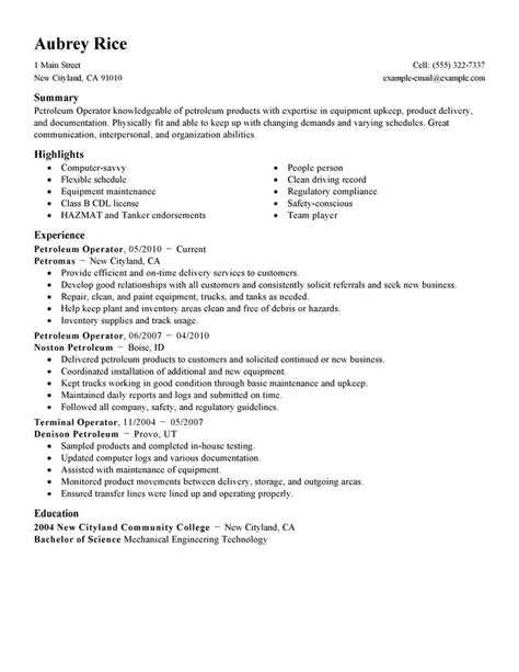 Farm Equipment Operator Cover Letter by Best Petroleum Operator Resume Exle Livecareer