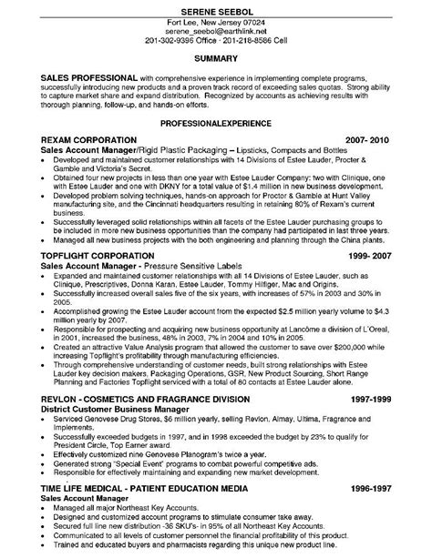 sales account executive resume free sles exles