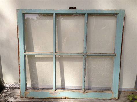 6 pane old window shabby chic turquoise blue frame