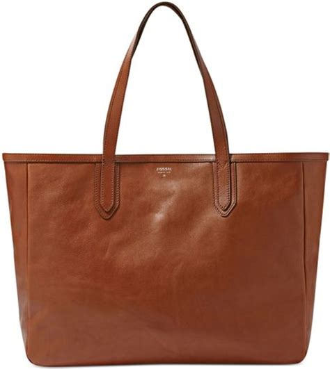 Fossil Tote Bag Leather fossil fossil handbag sydney leather tote in brown lyst