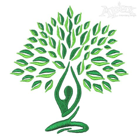embroidery design yoga yoga tree embroidery design