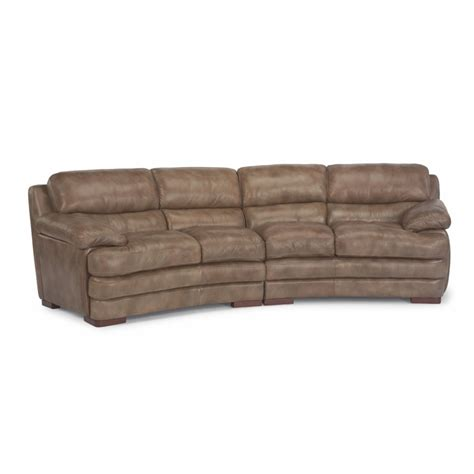 Leather Conversation Sofa Flexsteel 1127 325 Leather Conversation Sofa Without Nailhead Trim Discount Furniture At