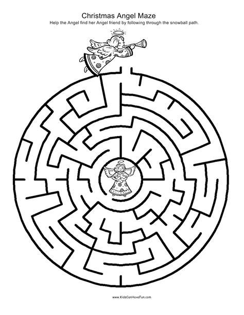 printable christmas maze worksheets christmas angel maze kidscanhavefun blog