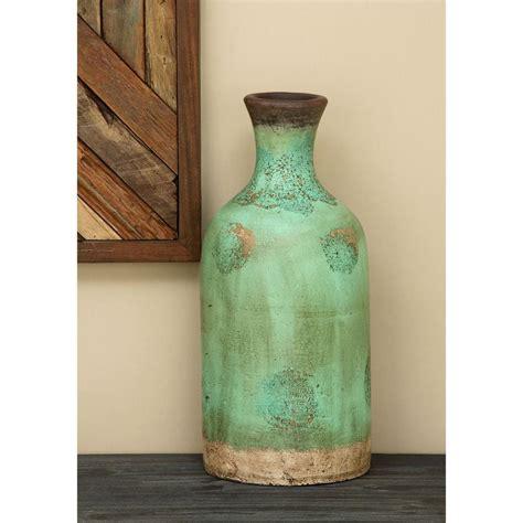 Teal Decorative Vase 18 In Terracotta Bottle Decorative Vase In Teal 38142