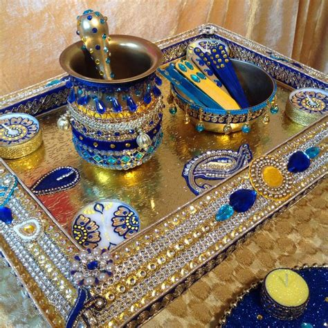 henna design plate mehndi plate in royal blue and yellow see my facebook