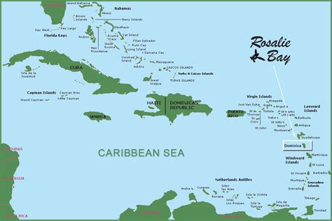 dominica map map of dominica and rosalie bay resort