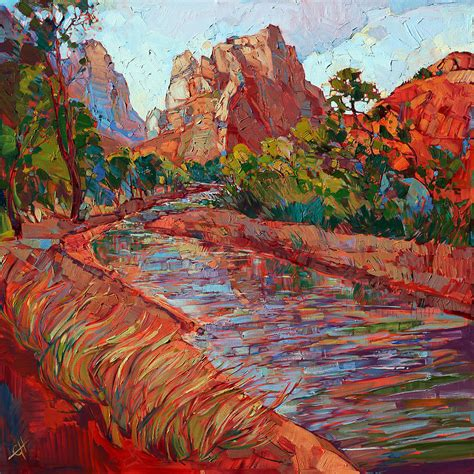 zion acrylic painting utah in color painting by erin hanson