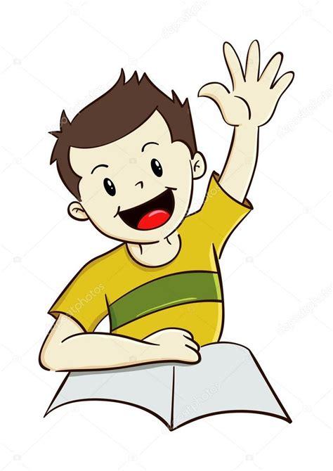 Imagenes Graciosas Levantando La Mano | muchacho levantando la mano mientras estudio vector de