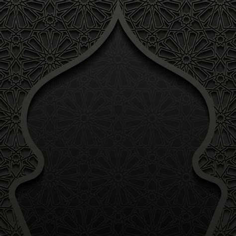 islamic pattern background black islamic mosque with black background vector 04 vector