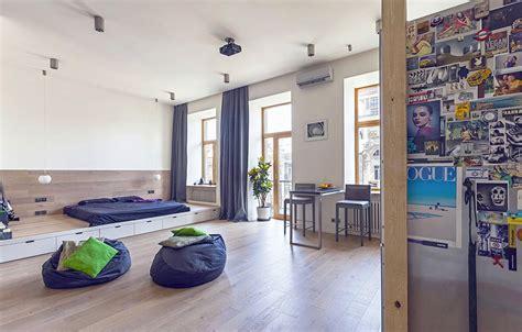 layout defining a 58 sqm open studio apartment in ukraine freshome