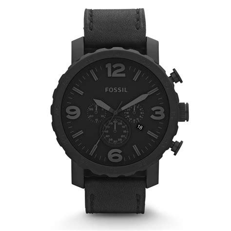 Fossil Kulit Black Limited fossil nate chronograph leather black precious