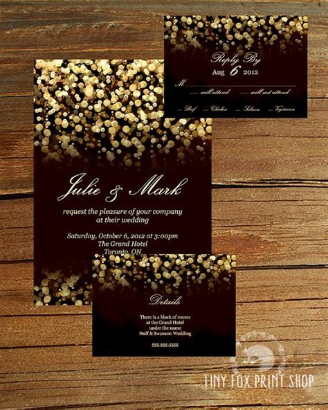 black and gold glitter wedding invitations printable gold glitter gatsby wedding invitation kit with