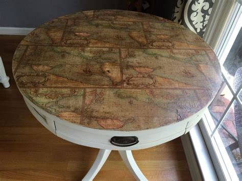 Decoupage Laminate Furniture - salvaging a table top hometalk