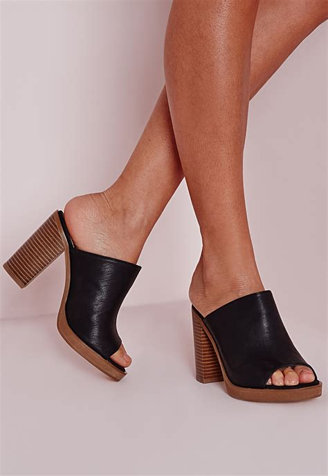 Block Heel Mules missguided peep toe block heel mules black in black lyst