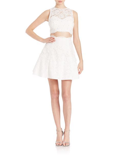 Top Flowhite Skirt Set xscape 2 crop top and skirt set in white lyst