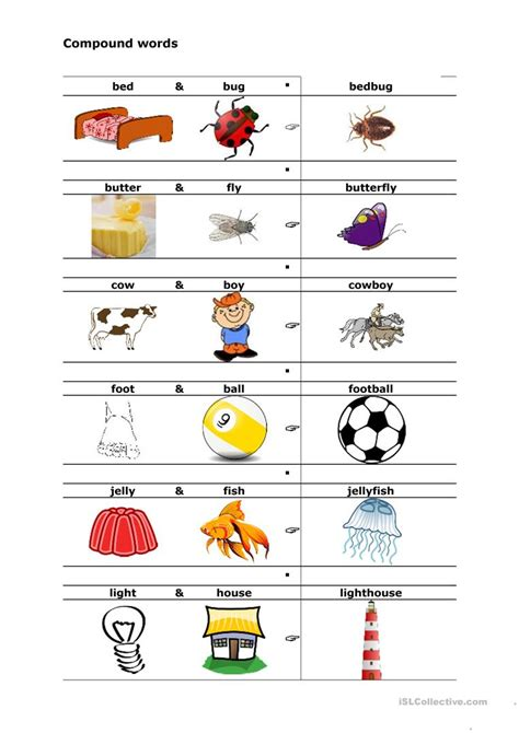 printable compound word matching games compound words worksheet free esl printable worksheets
