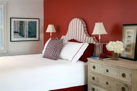 Red Accent Wall In Bedroom red accent wall in a crisp bedroom decoist