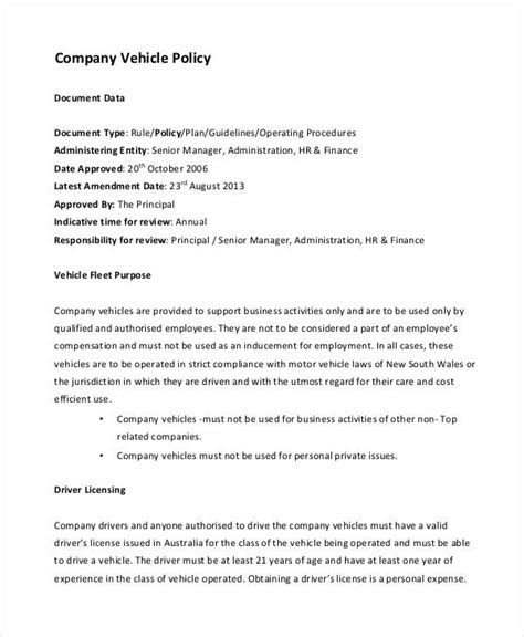 vehicle policy template company policy template 9 free pdf documents