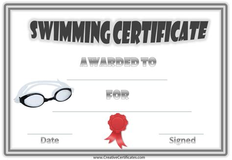 swimming certificates templates swim certificate
