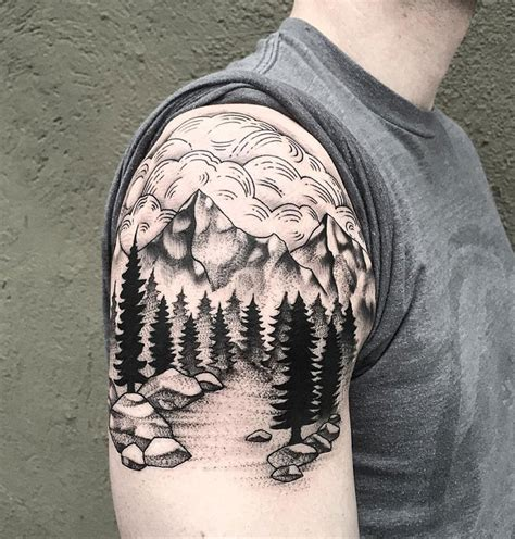 mountains amp trees best tattoo design ideas