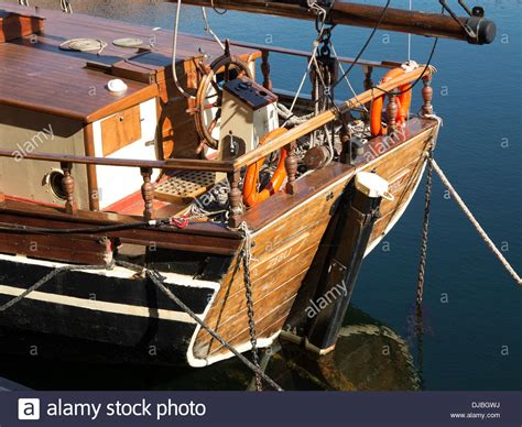 stern on boat stern rudder wooden sailing boat ship old stock photo