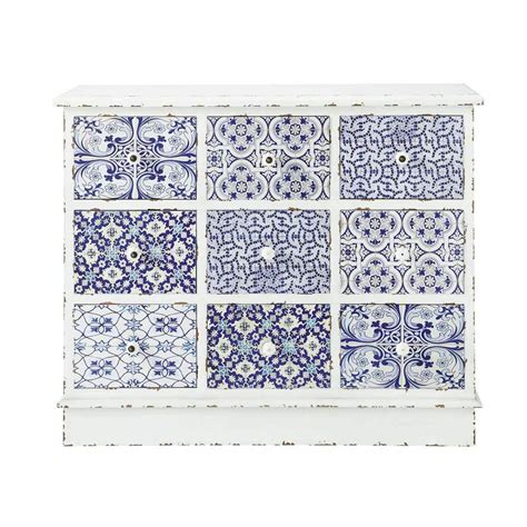 blue patterned chest of drawers wooden patterned cabinet in white and blue w 100cm