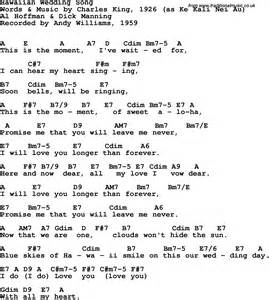 Song lyrics with guitar chords for hawaiian wedding song andy williams