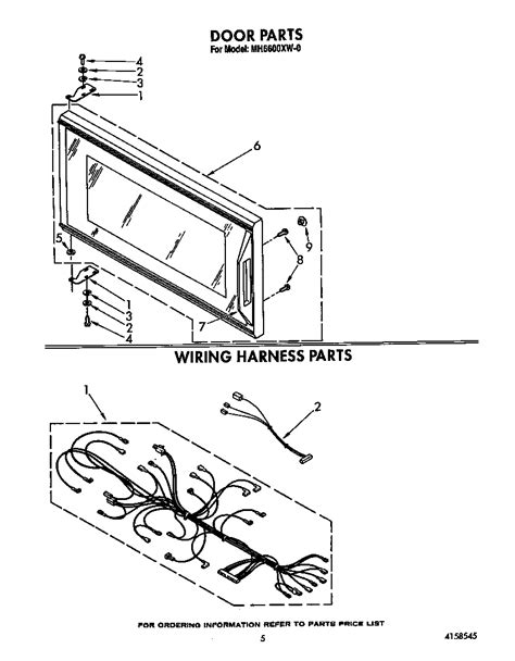 whirlpool microwave parts diagram door diagram parts list for model mh6600xw0 whirlpool