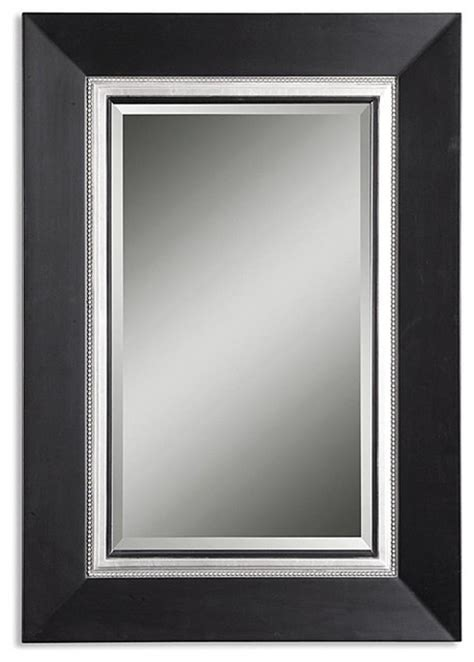 Black Bathroom Mirrors Uttermost Whitmore Vanity Black Wood Framed Mirror Contemporary Bathroom Mirrors By