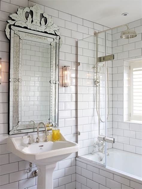 Mirrored Subway Tile Kitchen Rustic With Antique Mirror Mirrored Bathroom Tiles