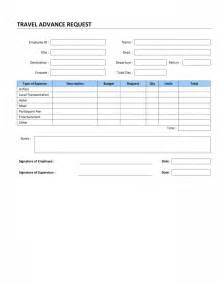 travel advance request template free microsoft word