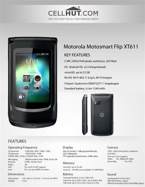 Hp Motorola Flip Xt611 motorola motosmart flip xt611 unlocked quadband android flip phone br