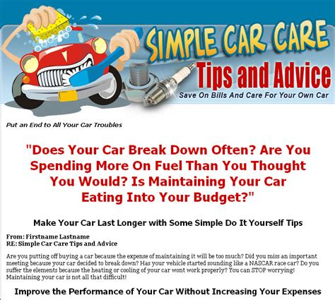 simple car care tips and advice mrr ebook