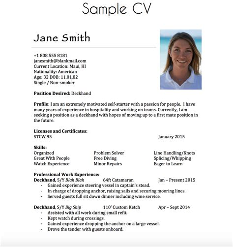 Deckhand Resume by Building A Yachting Resume Moxie Epoxy