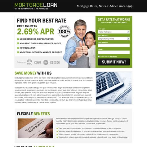 landing page design mortgage landing page design