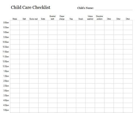 child care checklist child care checklist template