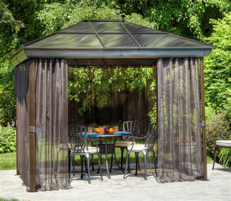 metal gazebo with curtains 27 gazebos with screens for bug free backyard relaxation