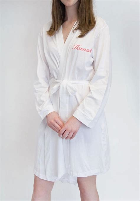Wedding Dressing Gowns by Fully Personalised White Jersey Wedding Dressing Gown