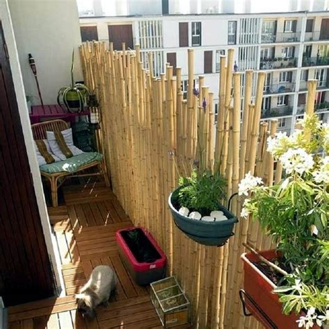 Bamboo balcony privacy screen ? ideas with plants, carpets