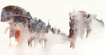 dream like watercolor paintings of dissolving buildings