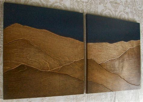 design house decor etsy mountains wood wall decor art two piece set 24x24 by