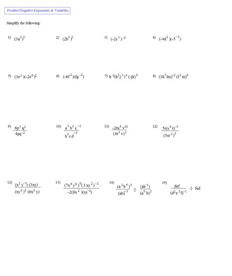 Negative And Fractional Exponents Worksheet by Worksheets Negative And Zero Exponents Worksheet