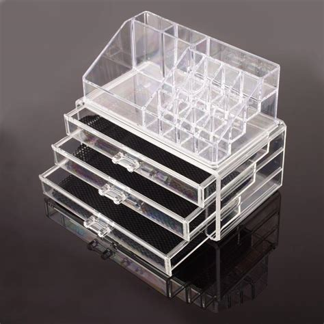 Clear Acrylic Makeup Storage Drawers by Makeup Cosmetics Organizer Clear Acrylic Drawers Grids