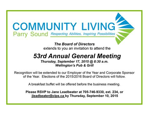 Invitation Letter For Agm Meeting 53rd Annual General Meeting Thursday September 17th 2015 Community Living Parry Sound