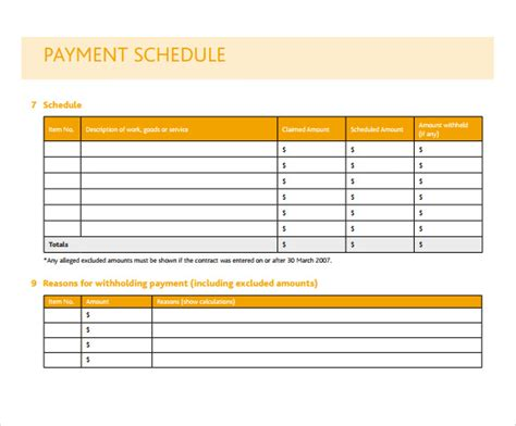 pay schedule template sle payment schedule 16 documents in pdf word