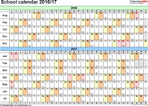 2016 And 2017 Academic Calendar School Calendars 2016 2017 As Free Printable Word Templates